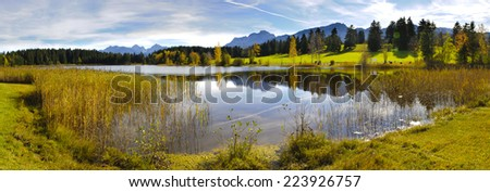 panorama view to beautiful rural landscape nearby city Fuessen in Bavaria, Germany - stock photo