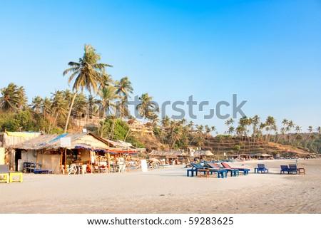 Panoramic view of beautiful tropical Vagator beach, Goa, India - stock photo
