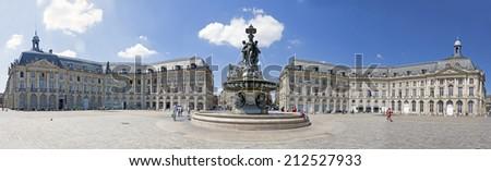 Panoramic view of Place de la Bourse, Bordeaux (France). - stock photo