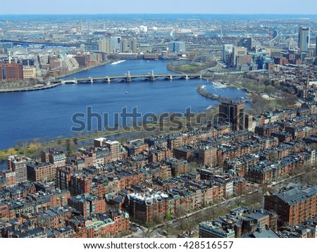 panoramic view of the city of   boston. massachusetts,    and the charles river from the skywalk observatory in the prudential building  - stock photo