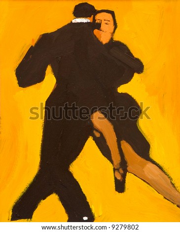Panting of a couple dancing the Tango - stock photo