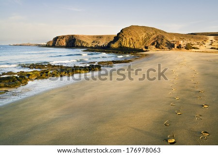 Papagayo beach in Lanzarote.Canarias Islands. Spain. Europe. - stock photo