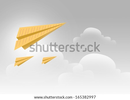 3 Paper Airplanes Flying in a Silver Sky Illustration - stock photo