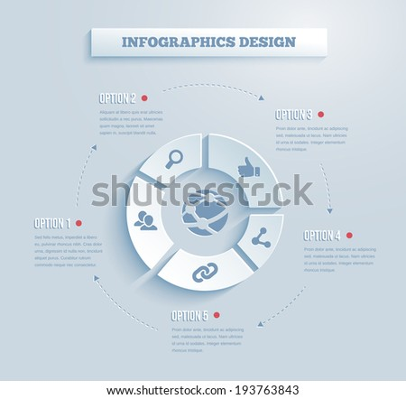 paper infographics with social media and networking icons showing links  contacts  community  chat  share  search and like on five segments of a wheel with text options - stock photo
