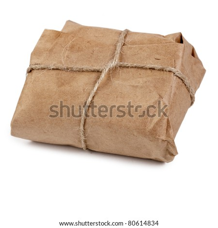 paper package tied rope isolated on white - stock photo