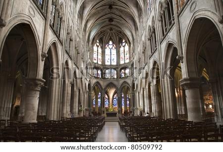 Paris - interior of Saint Severin gothic church - stock photo