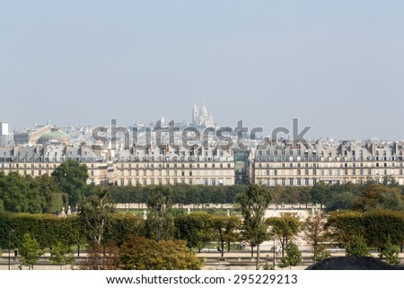 Paris - Montmarte and  Sacre Coeur  viewed from d'Orsay Museum   - stock photo