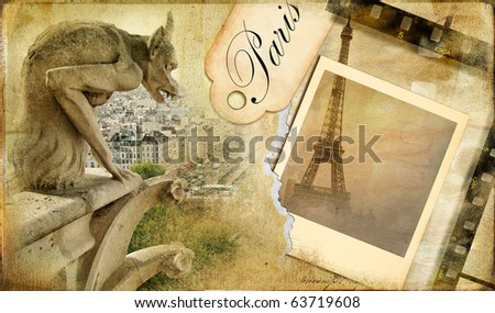 Parisian memories - vintage photoalbum series - stock photo