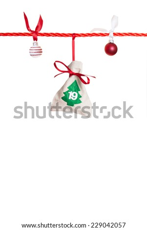 #19 - part of Advent calendar isolated on white background  - stock photo