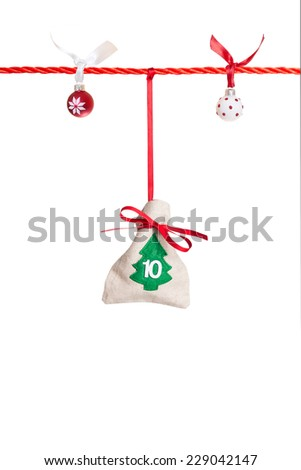 #10 - part of Advent calendar isolated on white background  - stock photo