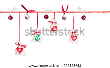 21 - 24, part of Advent calendar isolated on white background - stock photo