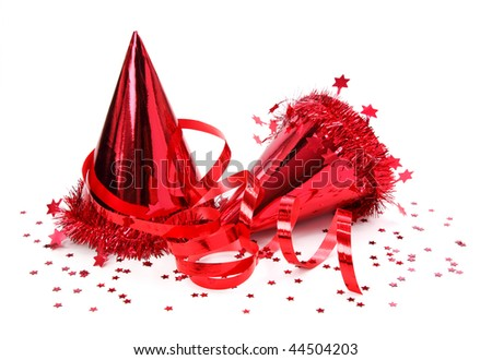 Party hats, paper streamer isolated on white background - stock photo