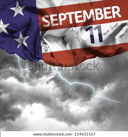 9/11 Patriot Day, September 11 waving flag - stock photo
