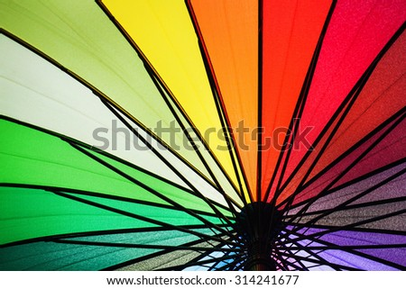 pattern of a colorful rainbow umbrella. - stock photo