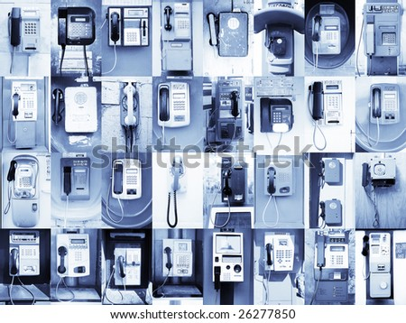 32 Payphones without logos. This picture I collected approximately half of year in various cities of Russia, Egypt, Indonesia, Andorra, Spain and Turkey.  (The letter on them are no brands) - stock photo