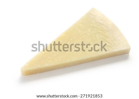 pecorino romano, hard italian sheep milk cheese isolated on white background - stock photo