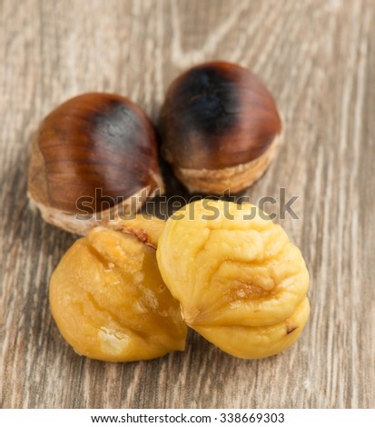 Peeled roasted chestnut   - stock photo