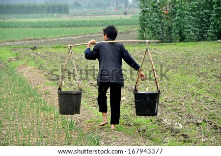 Pengzhou, Sichuan Province, China  October 9, 2012:  Barefoot woman walking across an earthen berm carrying two plastic buckets of water suspended from a shoulder yoke on her farm in Pengzhou, China. - stock photo