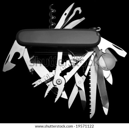 Penknife isolated on black - stock photo