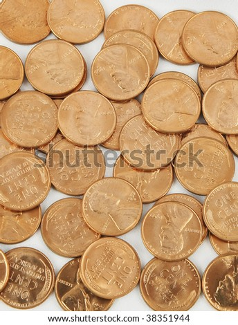 1955 pennies look like new background - stock photo
