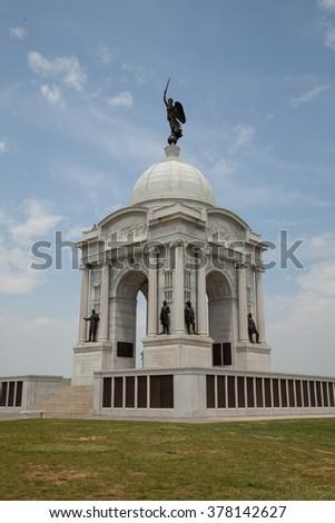 Pennsylvania Memorial in the Gettysburg National Military Park in Gettysburg, Pennsylvania  - stock photo