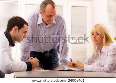 3 people in office - stock photo