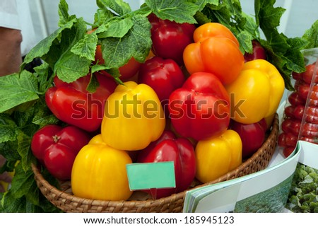 peppers at the local farmer's market.  - stock photo