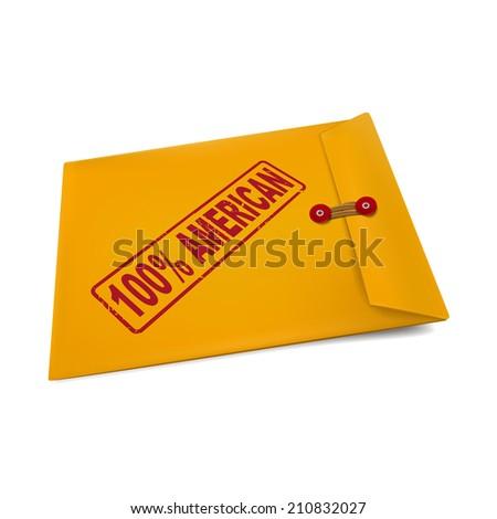 100 percent American stamp on manila envelope isolated on white - stock photo
