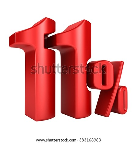 11 percent 3D in red letters on a white background - stock photo