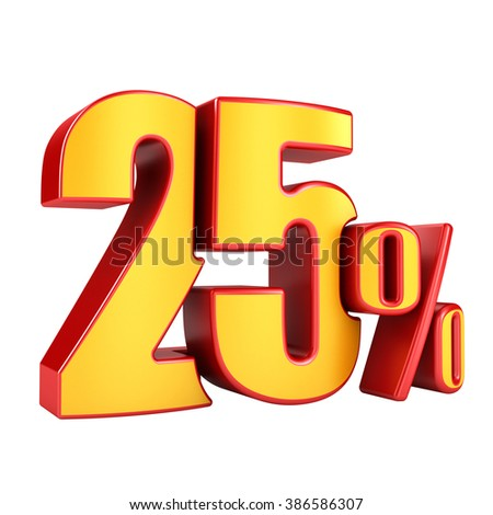 25 percent 3D letters on a white background - stock photo