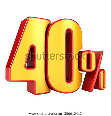 40 percent 3D letters on a white background - stock photo