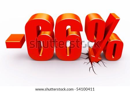 66 percent discount - stock photo