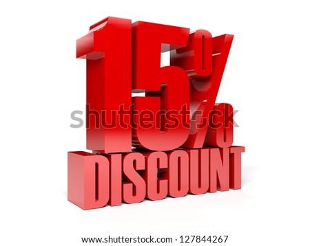 15 percent discount. Concept 3D illustration. - stock photo