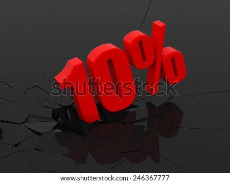 10 percent discount icon on white background - stock photo