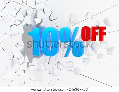 10 percent discount icon on white background - stock photo