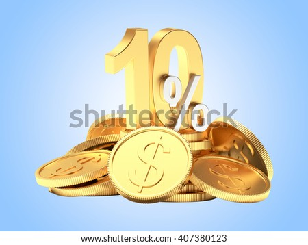 10 percent discount on a pile of golden coins on blue background. 3d illustration  - stock photo