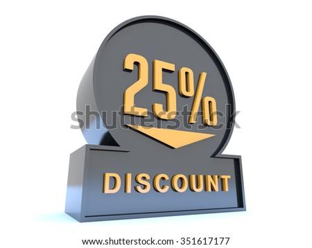 25 percent discount sign - stock photo