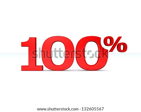 100 percent discount symbol RED color isolated white background. 3d illustration and business concept - stock photo