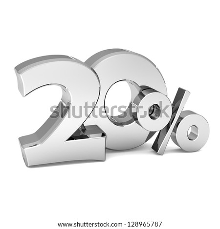 20 percent discount symbol SILVER color with reflection isolated white background. 3d illustration and business concept - stock photo