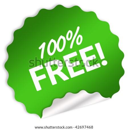 100 percent free sticker - stock photo