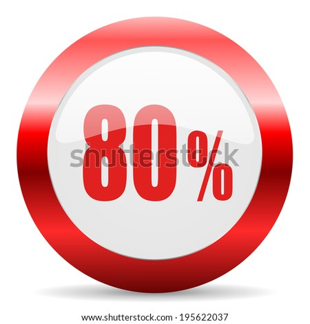 80 percent glossy web icon - stock photo
