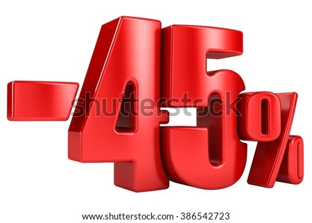-45 percent in red letters on a white background. 3d render. - stock photo