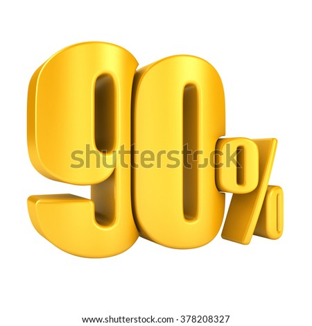 80 percent in yellow letters 3d render on a white background. - stock photo
