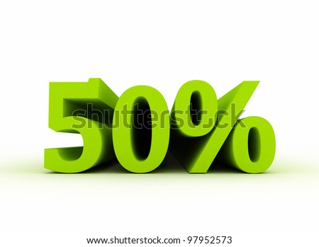 50 percent isolated on white background. - stock photo