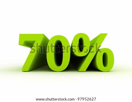 70 percent isolated on white background - stock photo