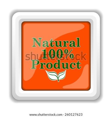 100 percent natural product icon. Internet button on white background.  - stock photo