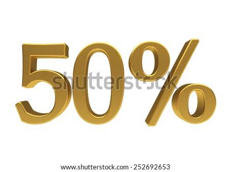 50 percent off. Discount 50. 3D illustration - stock photo