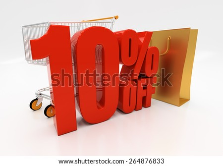 10 percent off. Discount 10. 3D illustration - stock photo
