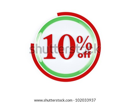 10 percent off glass isolated on white background - stock photo