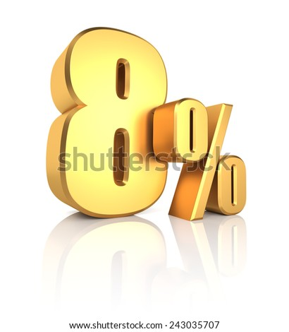 8 percent off. Gold metal letters on reflective floor. White background. Discount 3d render - stock photo